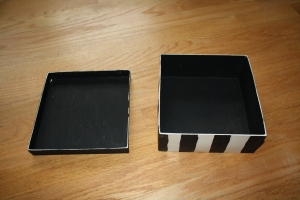 Here's inside the box. Black. I originally was going to draw Marco's tree but then decided to just keep it simple.