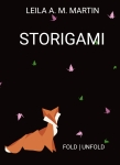 This book cover shows an origami fox on a black background, with small green and pink paper cranes falling like cherry blossoms