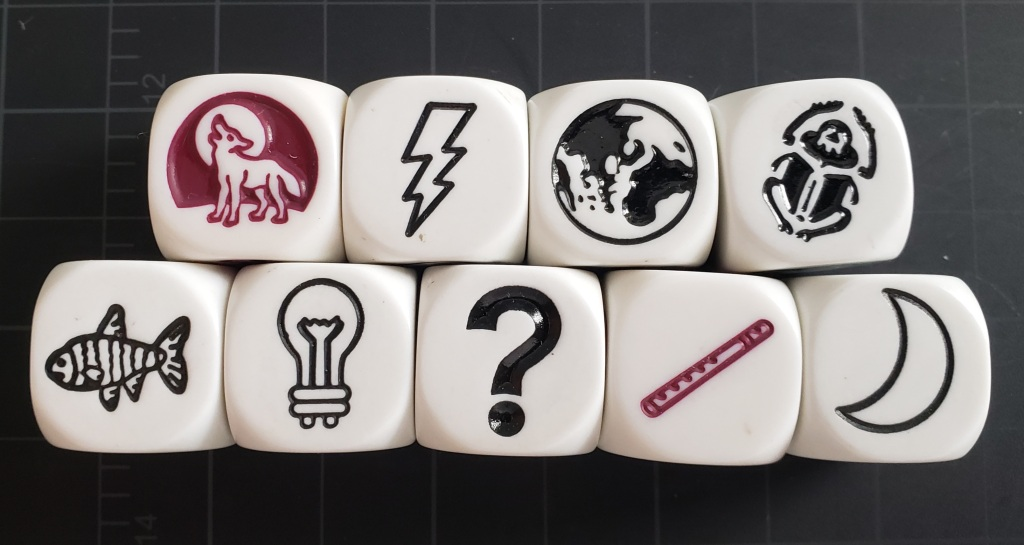 Story prompt cubes: wolf howling at the moon, lightning bolt, earth, beetle, fish, light bulb, question mark, flute, crescent moon